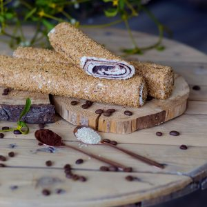 Chocolate filled rolled Turkish delight sprinkled with sesame seeds (200 G)