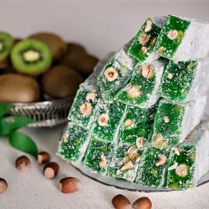 Kiwi flavored KING Turkish delight with hazelnuts (200 G)